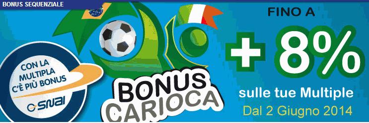 bonus carioca Codice promozione Snai 1050€ + 7500 in freeroll nel 2015