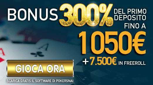 bonus snai poker Codice promozione Snai 1050€ + 7500 in freeroll nel 2015