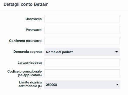Betfair registrazione