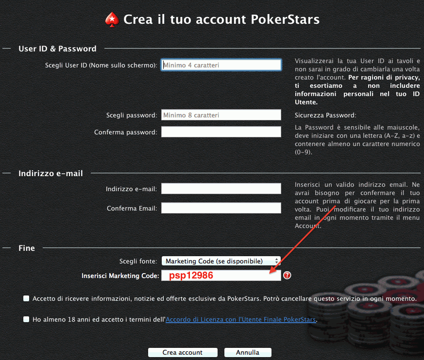 Codice Marketing di Pokerstars psp12986