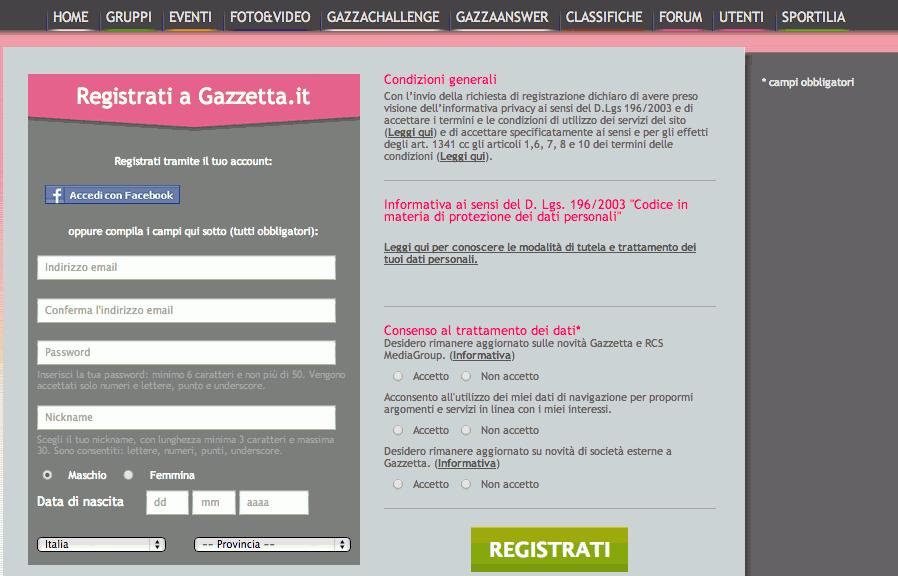 Gazzabet registrazione con codice