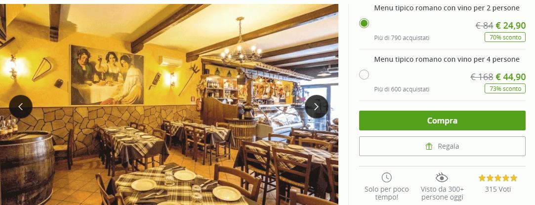 ac5ad879ae Basterà cliccare sul coupon che volete acquistare per avere maggiori  informazioni sul deal selezionato: opzioni (es. cena di coppia, cena di 4  persone etc.